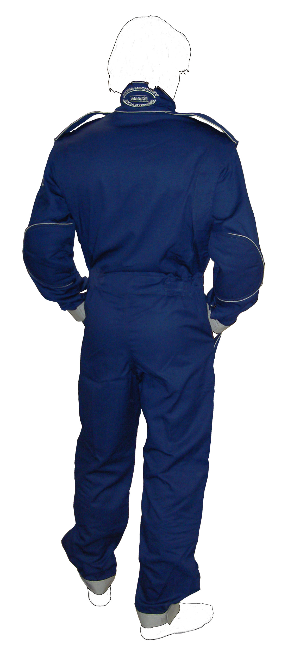 Stock Navy blue with grey piping MC2 technical staff suit